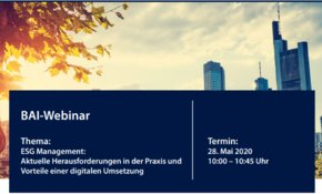Webinar ESG Management in Kooperation mit BAI und WeSustain